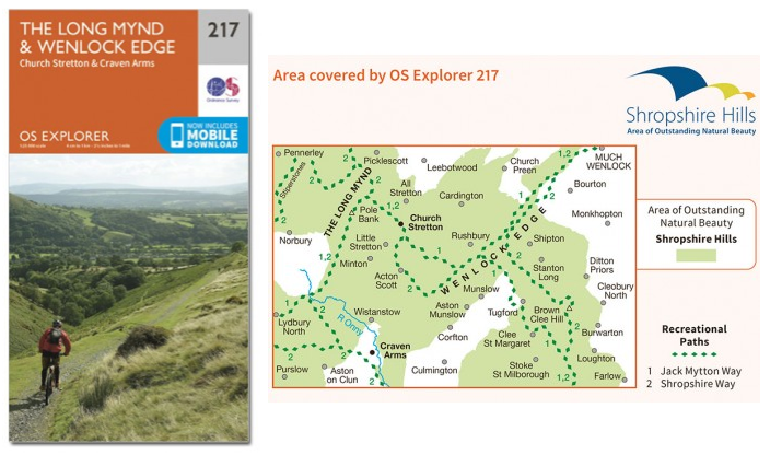 OS Explorer 217 The Long Mynd and Wenlock Edge