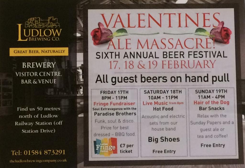 Ludlow Brewing Valentines Ale Massacre Leaflet