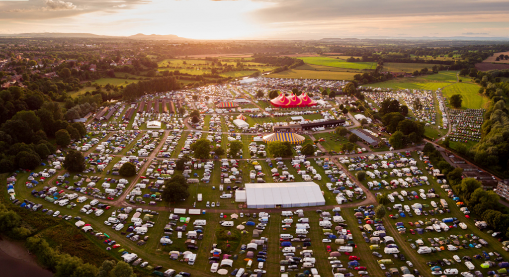 Aerial view of the Shrewsbury Folk Festival site