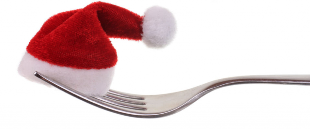 An image of a Santa Hat on a fork