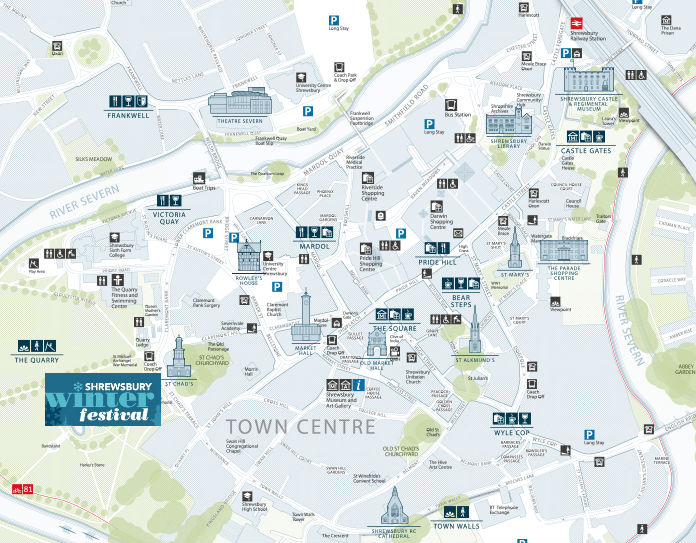 A map of Shrewsbury showing the location of the Shrewsbury Winter Festival in Quarry Park.