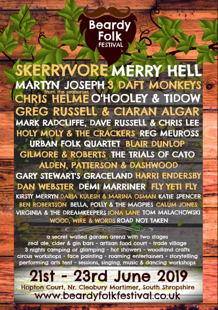 A poster shwoing the Beardy Folk Festival line-up