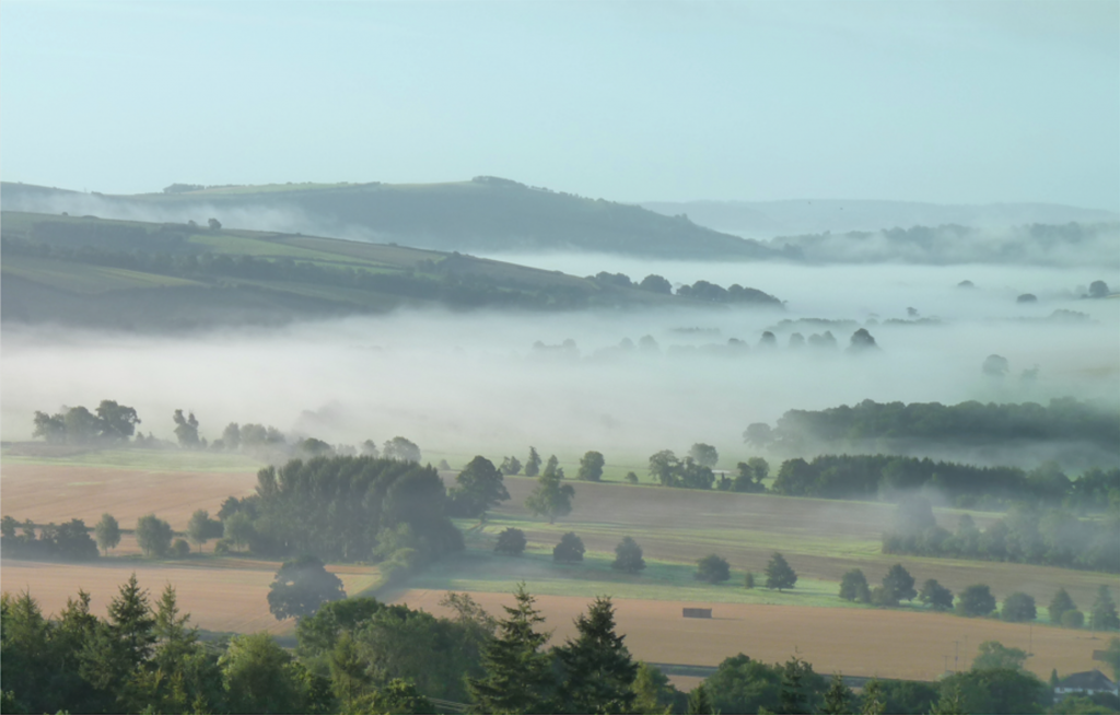 A photograph of the Kemp Valley, near Bishop's Castle, South Shropshire
