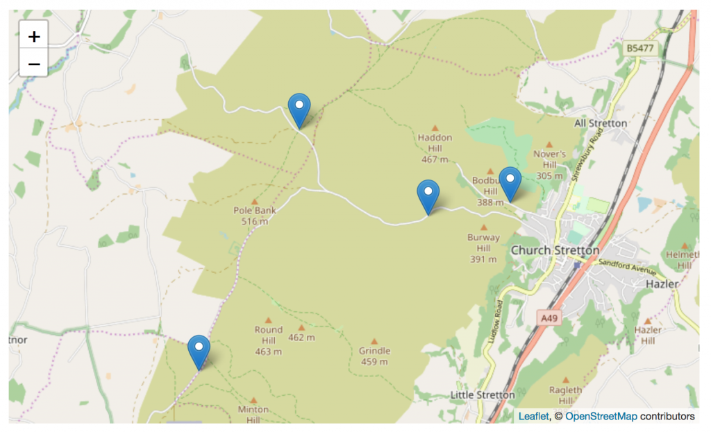 An OpenStreetMap of Dark Skies Discovery Sites, Long Mynd, Church Stretton